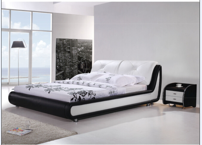 Bedroom Modern Leather Bed 8067 for Sale # |Lizz Bed oak solid wood bedroom furniture leather bed large soft bed(China (Mainland))
