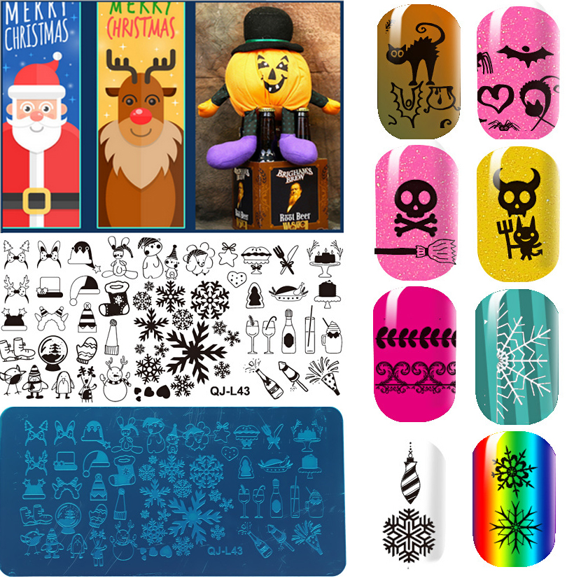 1Pcs Rectangle Nail Art Stamping Plates Christmas Halloween Design Nail Stamp Stamper Stencil DIY Polish Mould Manicure Tools 12(China (Mainland))