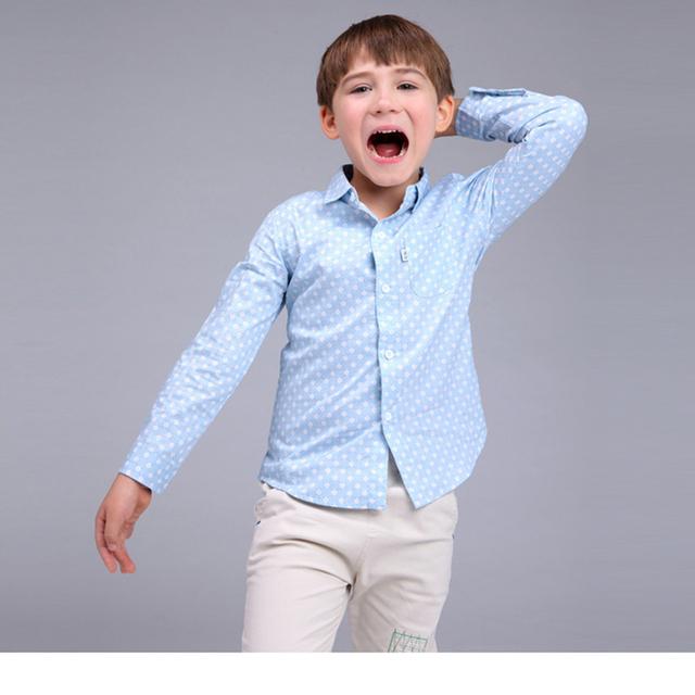 Мальчики печатных цветочные рубашки весна 2016 топы одежда мода простой синий хлопка с длинным рукавом блузка мальчики рубашка размер 90-130 см