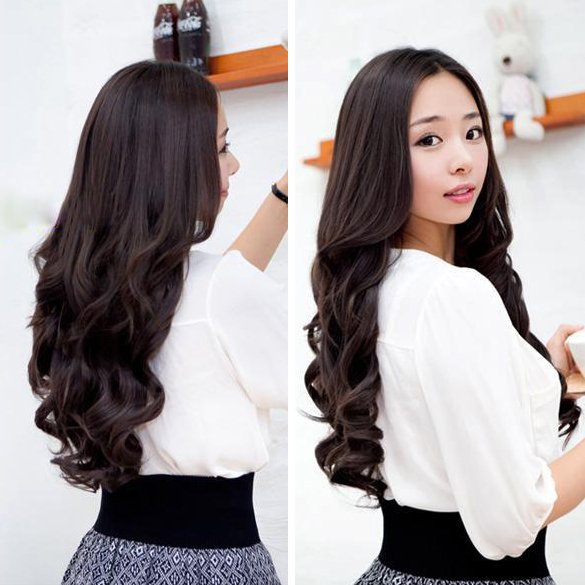Width 25cm Lady Sexy Stylish Long Curl Wavy Clip-on Hair Extension HB88(China (Mainland))