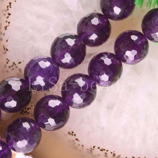 """Free Shipping New without tags Fashion Jewelry 10MM Round Faceted Natural Amethyst Beads Strand 15.5"""" (39 beads) FC102(China (Mainland))"""