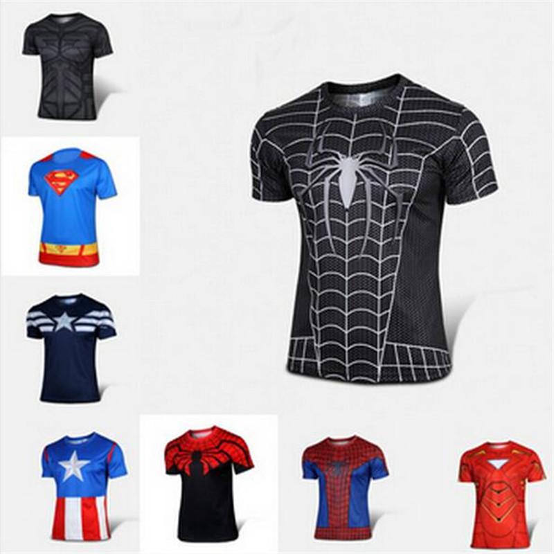 2016 male American cartoon superhero shirt sport shirt dress with short sleeves High quality miracle black spiderman T-shirt 4xl(China (Mainland))