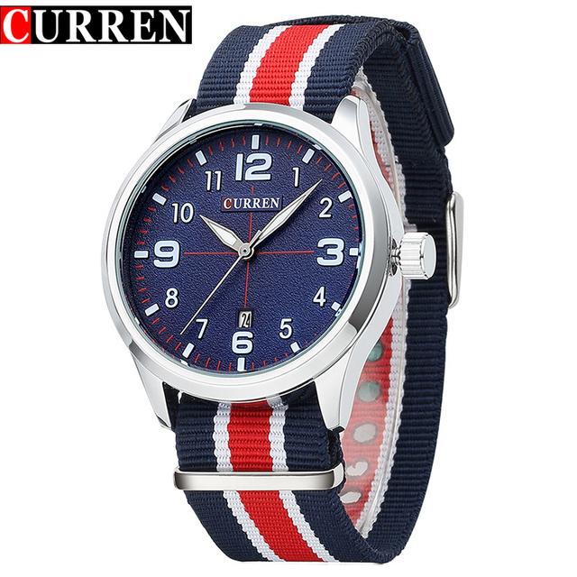 Мужчины мода свободного покроя кварца бренд ремешок из ткани наручные часы мужчины классический авто встречи мужская часы мужской relojes хомбре 2016 CURREN