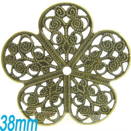 Factory direct sale//DIYJewelry Findings-Bronze plated flower sheet metal pendant 38mm(China (Mainland))