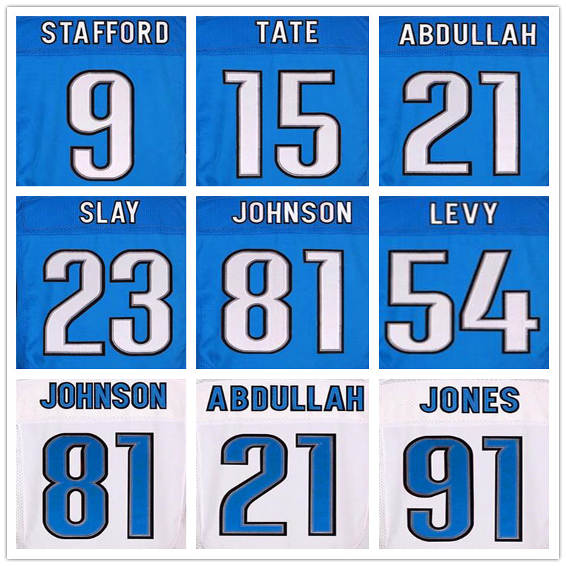 20 Barry Sanders 81 Calvin Johnson maillots 91 Ndamukong Suh 9 Matthew Stafford bleu 23 Darius tuez 54 DeAndre Levy or Tate(China (Mainland))