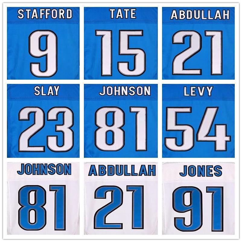 20 Barry Sanders 81 Calvin Johnson jerseys 91 Ndamukong Suh 9 Matthew Stafford blue 23 Darius Slay 54 DeAndre Levy Golden Tate(China (Mainland))