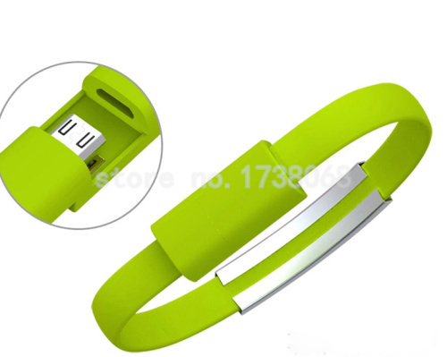 22cm micro usb 2.0 phone charger android silicone Bracelet style cable for samsung lenovo LG android phones(China (Mainland))