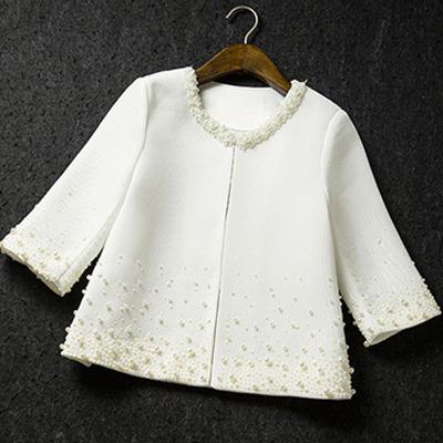 Осень марка женщины пальто корейский элегантный бусины шорты куртка чёрно-белый костюм ...