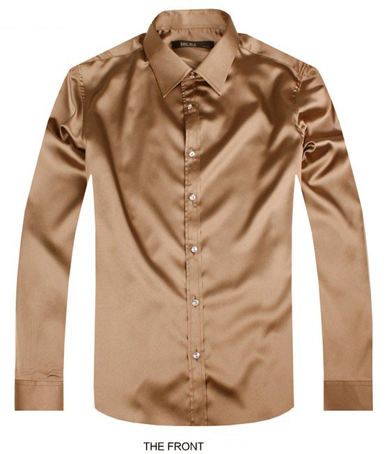 Mens Brown Long Sleeve Dress Shirts