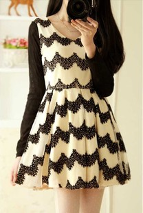 Korean Designer New 2014 Summer Cute Wave Striped Long Sleeve Skater Puff Dress Ladies' Casual Sweet Slim Fit Ball Gowns(China (Mainland))