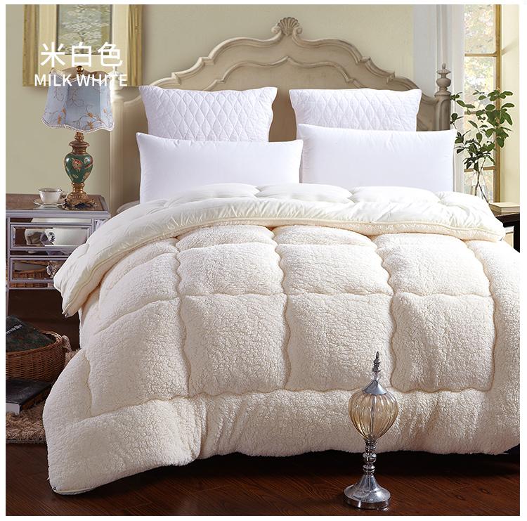 100% Fiber White Brown winter comforter quilt blanket ...