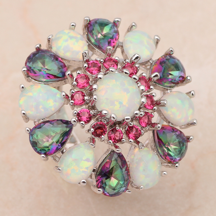 Rose Crystal & Muliticolor Topaz fashion jewelry for women White fire Opal 925 Silver Rings USA size #6 #8 #9 #10 OR595(China (Mainland))