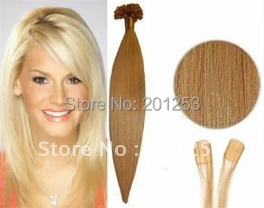 20 Hot Sale 300S Remy Nail Tip/U Tip Hair Extensions, 100% Human Hair Made, Natural Blonde #24, 0.5g/pcs Free Shipping<br><br>Aliexpress