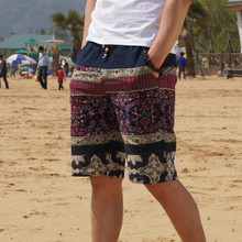 Men's linen shorts personality ethnic style color stitching 2015 summer new leisure wild men loose floral beach shorts M-5XL