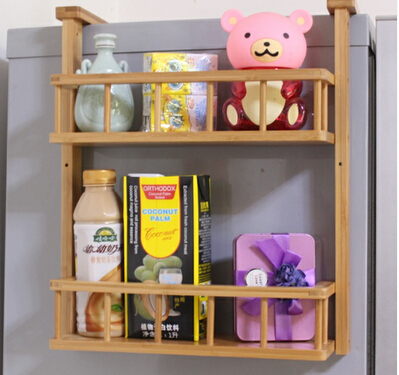 Buy Simple kitchen refrigerator shelf racks bamboo wood wall bathroom shelf storage container shipping pendant Spice Rack cheap