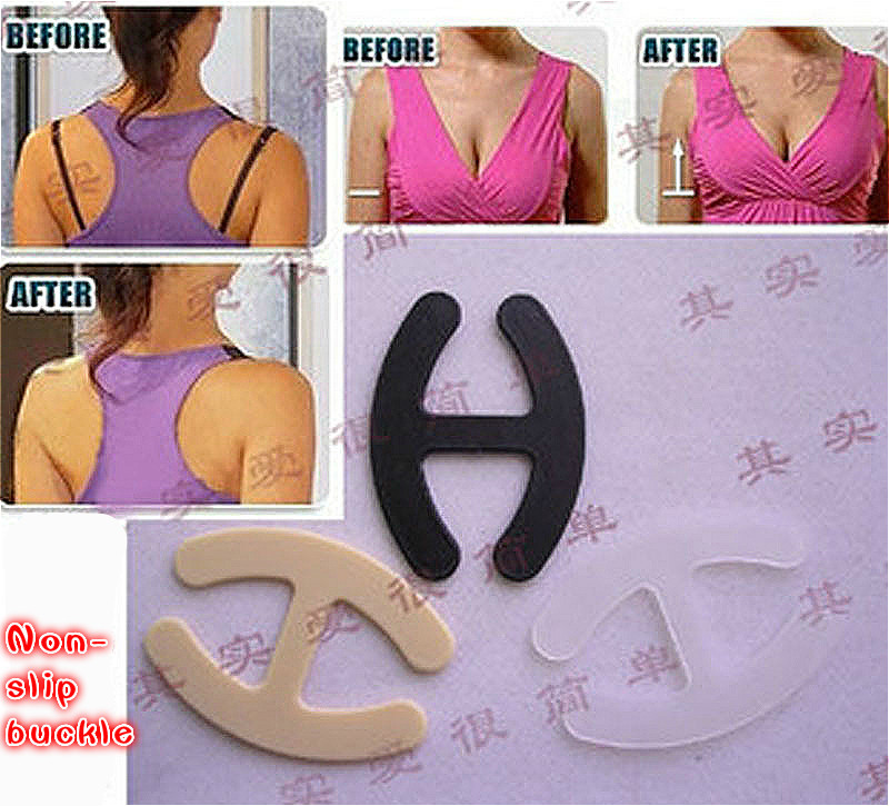 Hot Sale Cheap Women's Push Up Cleavage Control Invisible Bra Strap Belt Clip Buckle Non-slip Buckle(China (Mainland))
