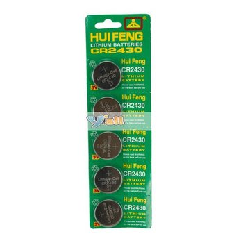 Free Shipping,5Pcs/Set 3V CR-2430Lithium Button Cell Batteries,100 Set/lot New High Quality and Good Price 88006309