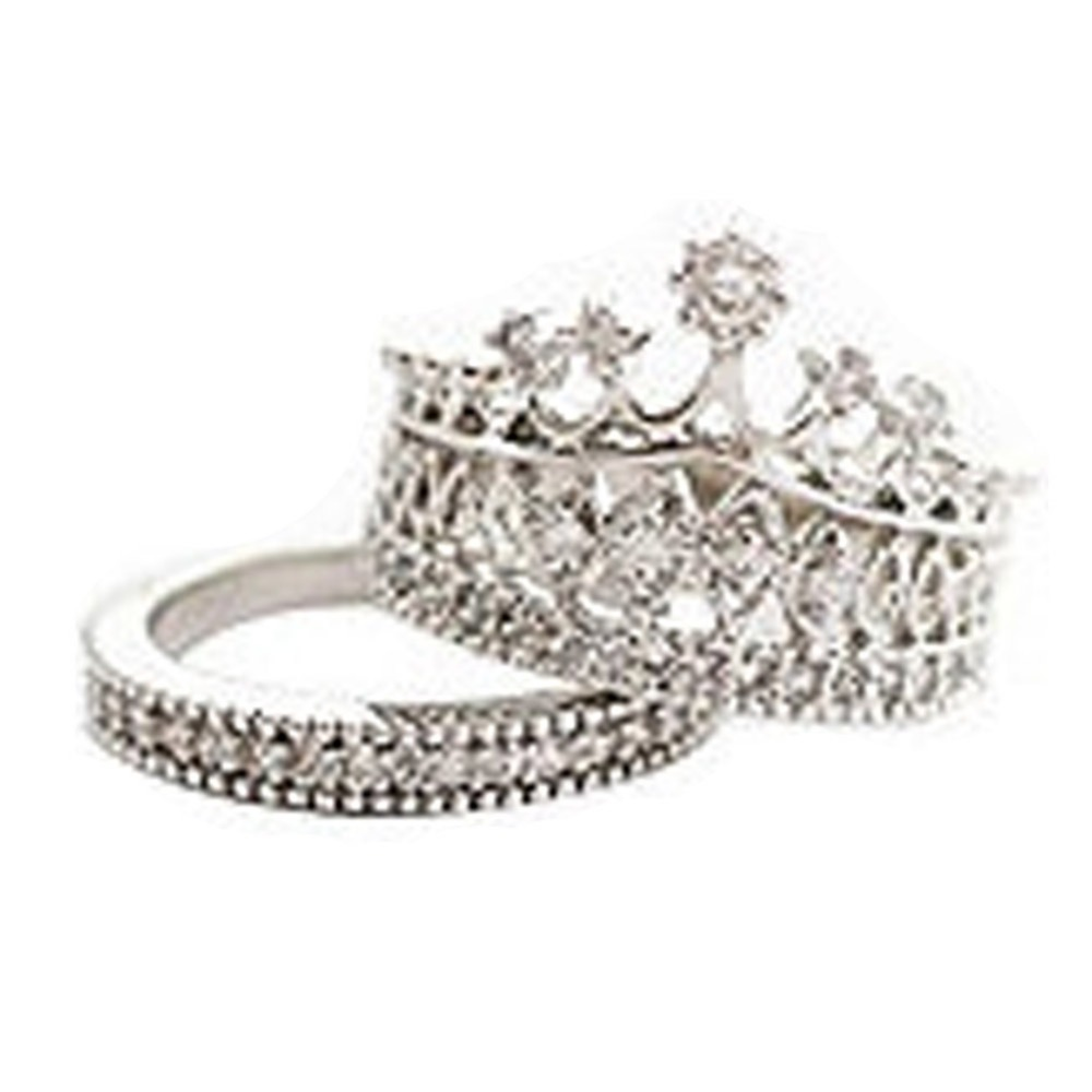 New Fashion Queen Party All-match 1 Set Sweet Piece Crown Moldings Ring Color Silver Plated RING-0364(China (Mainland))