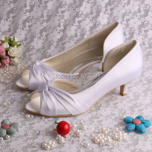Open Toe Low Heel Pumps Wedding Shoes Woman Pumps Custom Handmade