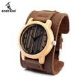 BOBO BIRD H08 Vertical Stripes Brand Designer Bamboo Watch Leather Band Wooden Dial Face Japan 2035