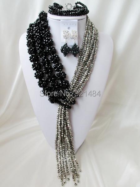 Amazing! Ball Design Silver Black Crystal Nigerian Wedding African Beads Jewelry Set VC421<br><br>Aliexpress