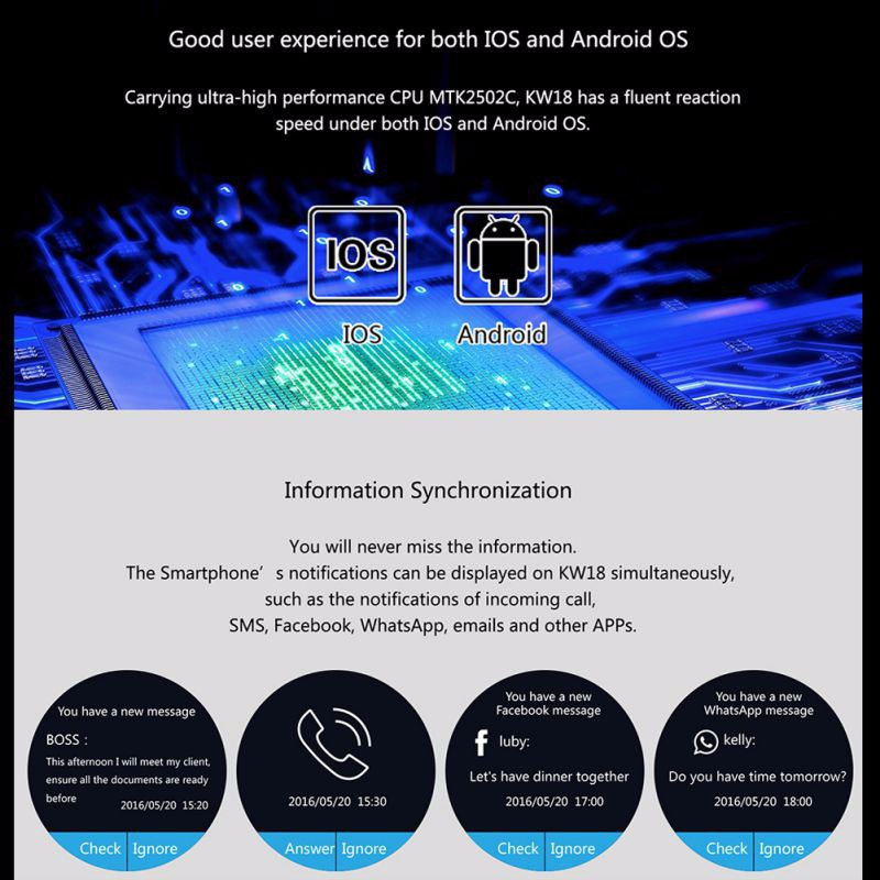 ถูก ใหม่สมาร์ทนาฬิกาโทรศัพท์หน้าจอIPS LCD 240X240บลูทูธ4.0ป้องกันการสูญหายแจ้งเตือนระยะไกลกล้องอัตราการเต้นหัวใจMonitorนาฬิกาKW18
