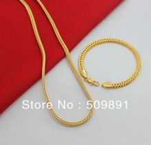 SE689 New Fashion Jewelry 24k Gold Plated  Sets 6mm Chain Bracelets 5mm Necklaces Top Quality Free Shipping(China (Mainland))