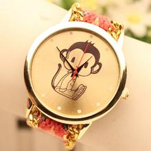 Las nuevas mujeres del reloj del patrón lindo del mono tejido cadena dorado reloj de cuarzo analógico Casual reloj Relogio Relojes Feminino