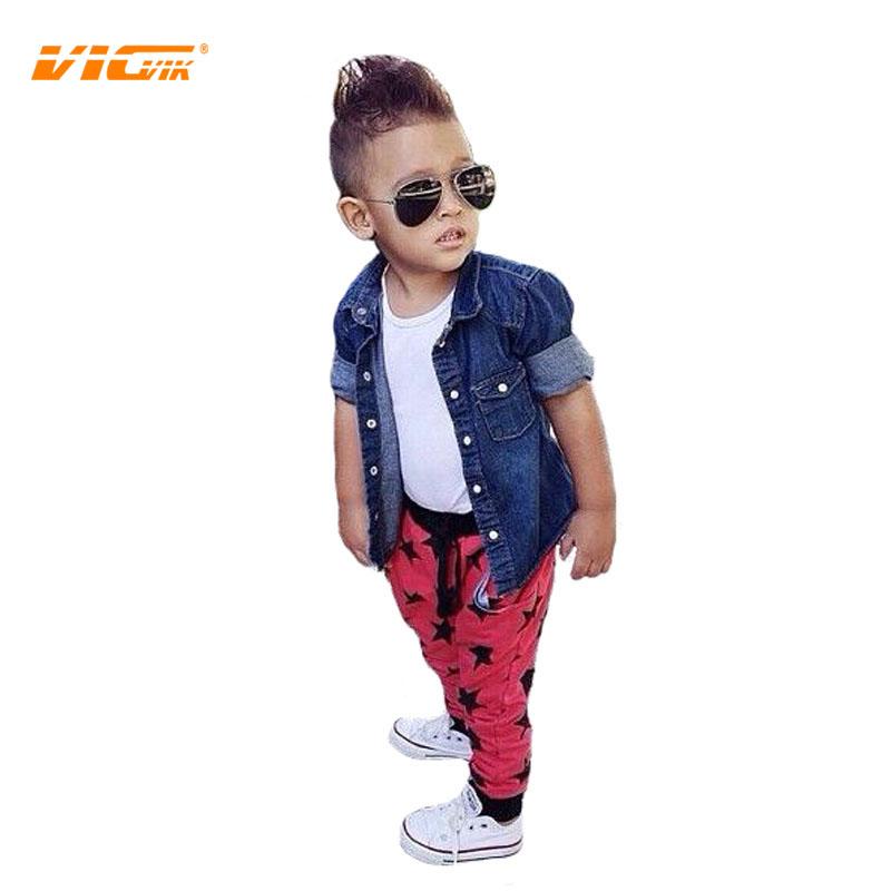 VICVIK brand Jeans Shirt+white T Shirt+pants sets Boys Clothing Sets Children Clothing Manufacturers China Boys Clothes Summer(China (Mainland))