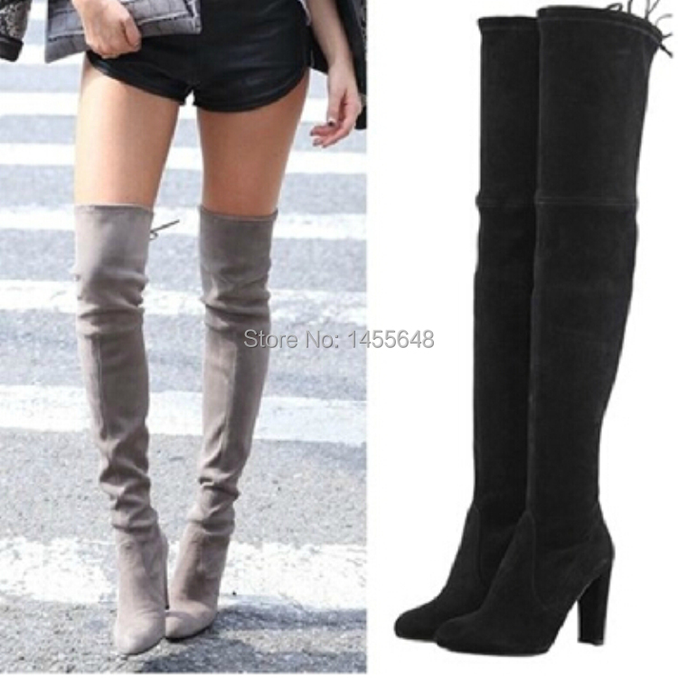 2015 suede leather thigh high boots chunky high heels black women stretch over the knee boots autumn winter famous brand shoes(China (Mainland))