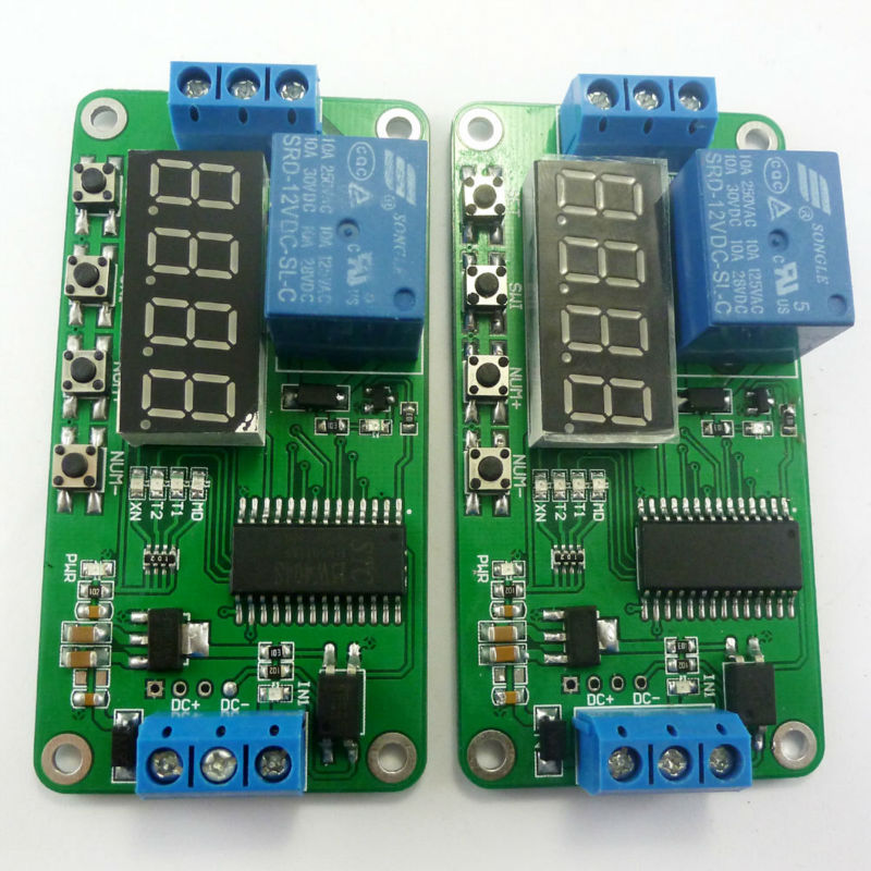 2x Low trigger DC 12V Digital Tube LED Multifunction Delay Relay Time Switch for PLC Smart Home Motor Battery car Motorcycle(China (Mainland))
