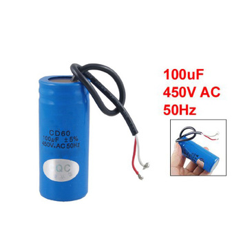 EDFY 100uF 450V AC CD60 2 Black Wire Lead Motor Start Run Capacitor
