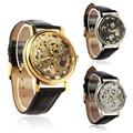 Quartz Watch For Fashion Luxury Mens Mechanical Skeleton Analog Watch Hand Wind Up Leather Strap Wristwatch