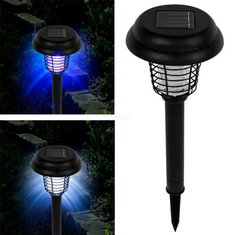 New 2015 LED Solar Light Outdoor Yard Garden Lawn UV Bug Killer Anti Mosquito Insect Pest Zapper Trapping Lantern Lamp(China (Mainland))