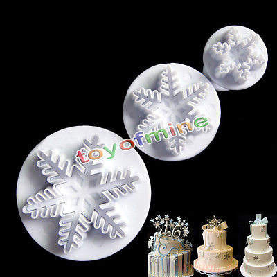 3Pcs Xmas Snowflake Cake BiscuitsCookies Decorating Fondant Plunger Cutter Tool Kitchen accessories Cake mold Stand cake baking(China (Mainland))