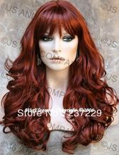Wholesale price FREE SHIPPING ^^^^Beautiful LONG Wavy Curly Layered Copper Red with bangs WIG WACA (China (Mainland))