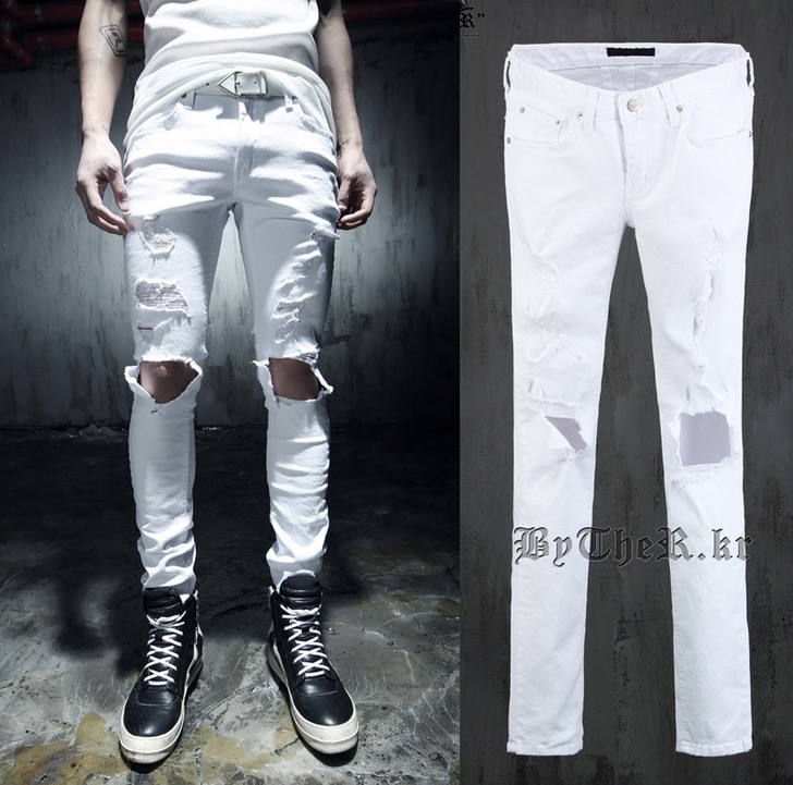 Popular White Destroyed Jeans Mens-Buy Cheap White Destroyed Jeans