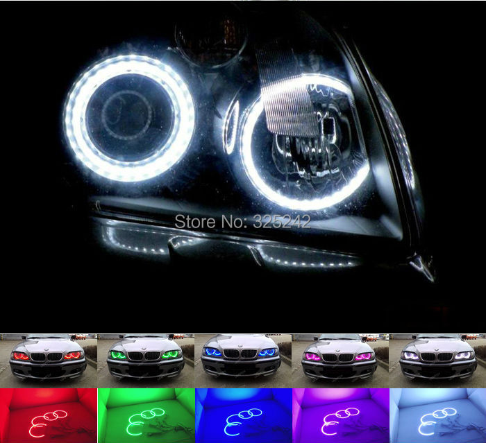 For Toyota Avensis T250 2003-2009 Excellent Angel Eyes kit Multi-Color Ultrabright RGB LED Angel Eyes Halo Rings<br>