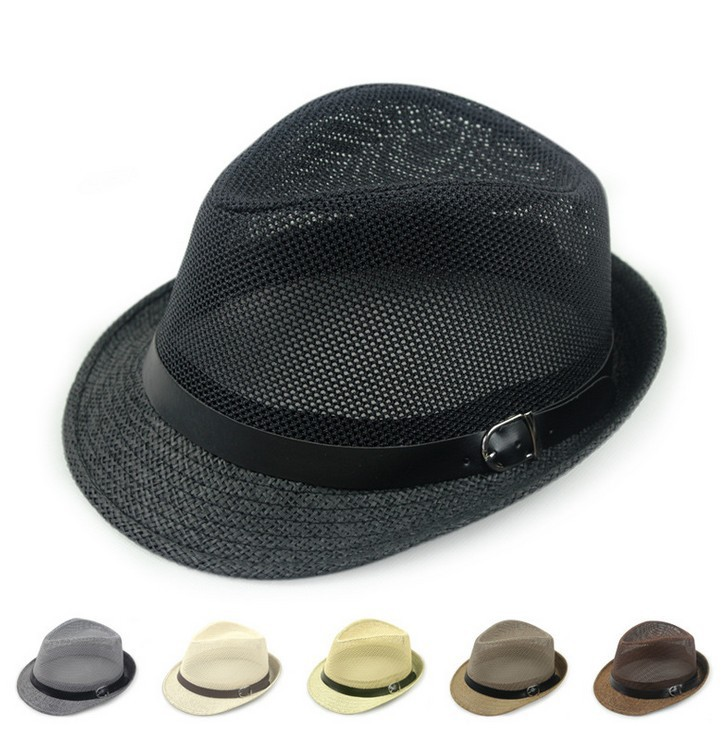 Summer outside shade mesh jazz hat breathable belt buckle straw cap cool gentleman hat 6color 1pcs(China (Mainland))