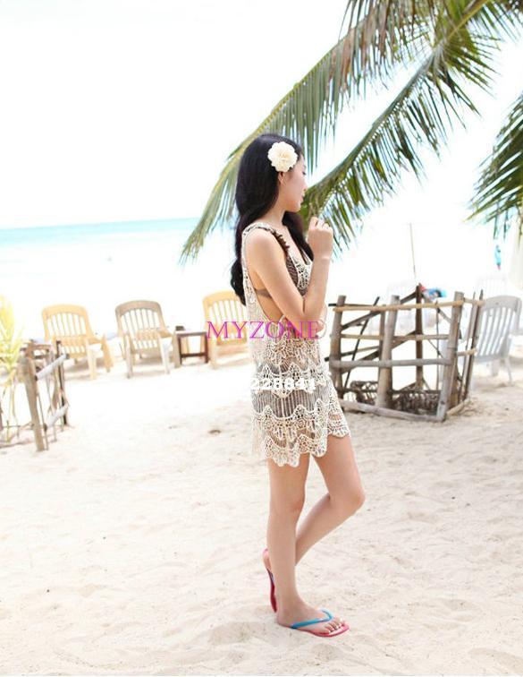 Korean Style!!!Women's Girl Knitting Round Collar Sleeveless Flower Hollow Vest Beach Dress Bikini Smock Swimwear B12 CB018771(China (Mainland))