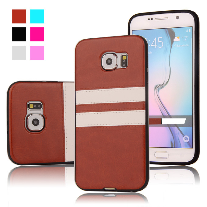 Fashion Retro Double Colors PU Leather Soft TPU Back Case for SAMSUNG GALAXY S6 G9200 G920F Shockproof Mobile Phone Bags Cover(China (Mainland))