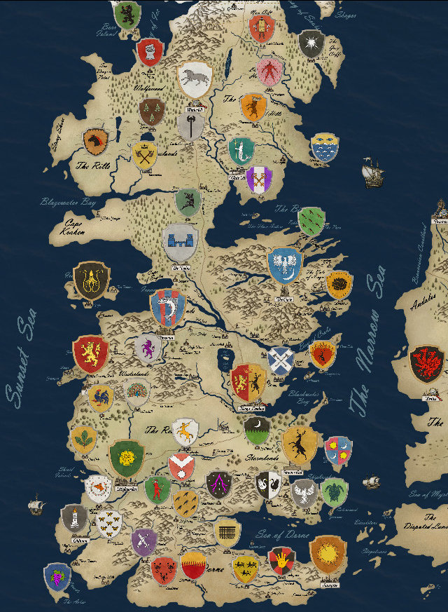 Game of thrones houses map westeros and free cities poster for Game of thrones garden ornaments