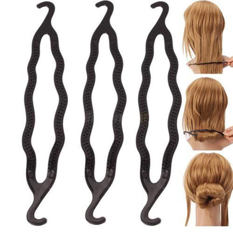 Fashion Women Magic Hair Twist Styling Clip Stick Bun Maker Braid Tool Black Barrette Hair Accessories(China (Mainland))