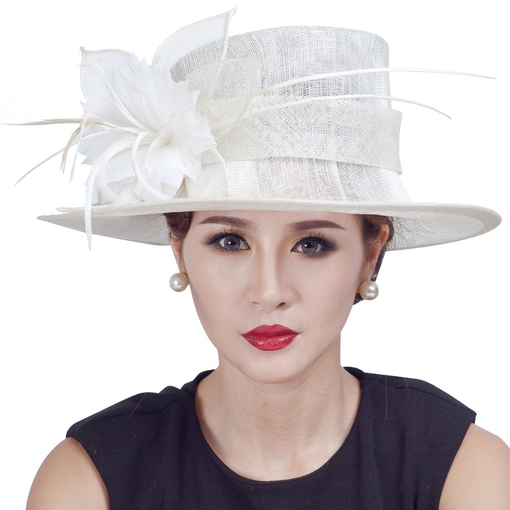 New arrival! lady women races party fascinator hats handmade large church sinamay hats with floral feathers(China (Mainland))