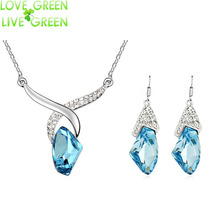 2017 summer love Austrian Crystal pendant rhinestones Necklace Earrings swan lady queen wedding fashion Jewelry sets 83008(China (Mainland))