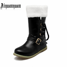 2017 lady classics style snow boots Big Size 41 42 43 44 45 46 47 48 49 50 51 52 low heel design PU leather shoes - LUKU CO. Store store
