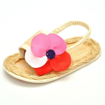 Estamico Hot Selling Pretty Sandals Solid Naturals Tricolor Flower Flat With Cotton Fabric Weave Style Baby Girl Sandals