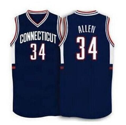 #34 Ray Allen Connecticut Huskies1996 Throwback blue White Basketball Jersey Stitched Jerseys Customized Any Name And Number(China (Mainland))