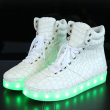 Genuine Leather Luxury Designer Stone pattern tenis Basket led light up tall tops shoe luminous with USB high for men women male(China (Mainland))