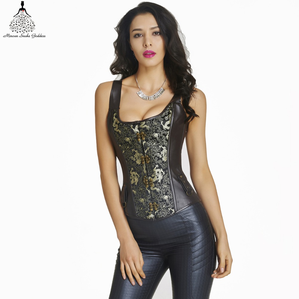 leather corset waist trainer hot shapers bustiers waist training corset corsetto Sexy Lingerie steampunk corset gothic clothing(China (Mainland))